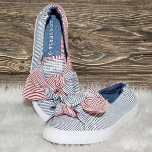 New Converse Knot Slip On Sneakers Red White Blue